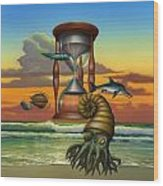Prehistoric Animals - Beginning Of Time Beach Sunrise - Hourglass - Sea Creatures Square Format Wood Print