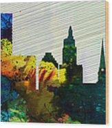 Providence City Skyline Wood Print