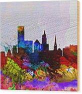 Providence Watercolor Skyline Wood Print