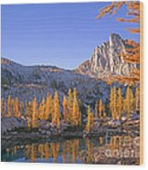 Prusik Peak Behind Larch Trees Wood Print