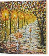 Rainy Autumn Beauty Original Palette Knife Painting Wood Print