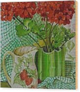 Red Geranium With The Strawberry Jug And Cherries Wood Print