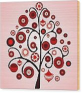 Red Ornaments Wood Print