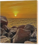 Red Sea Sunset Wood Print by George Paris