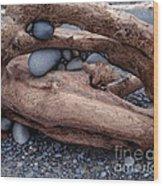Rocks  In Driftwood Wood Print