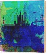 San Francisco Watercolor Skyline 2 Wood Print
