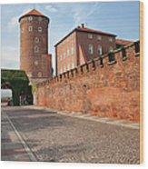 Sandomierska Tower And Wawel Castle Wall In Krakow Wood Print