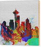 Seattle Watercolor Skyline 2 Wood Print