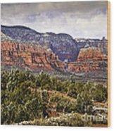 Sedona Arizona In Winter Coat Wood Print