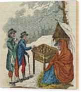 Selling Hot Spiced Apples In  Winter Wood Print