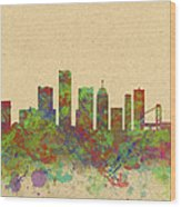 Skyline Of Detroit Usa Wood Print