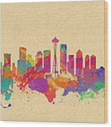 Skyline Of Seattle  Usa Wood Print
