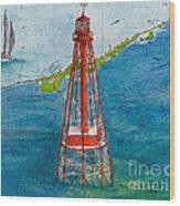 Sombrero Key Lighthouse Fl Chart Art Cathy Peek  Wood Print