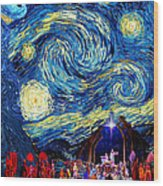 Starry Night In Bethlehem Wood Print