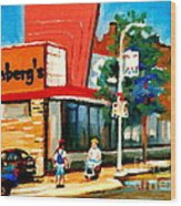 Steinbergs Grocery Store Paintings Vintage Montreal Art Order Prints Originals Commissions Cspandau Wood Print