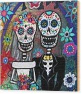 Te Amo Wedding Dia De Los Muertos Wood Print