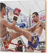 Thai Boxing Match Wood Print