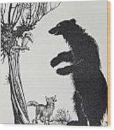 The Bear And The Fox Wood Print