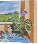 The Blue Jay Speaks Wood Print by Susan Culver