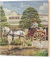 The Butchers Cart Wood Print by Trudi Simmonds