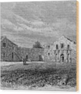 The Exterior Of The Alamo         Date Wood Print