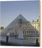 The Glass Pyramid Of The Musee Du Louvre In Paris France Wood Print
