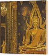 The Main Hall Of Wat Thardtong With Golden Buddha Statue Wood Print