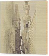 The Minaret Of The Mosque Of El Rhamree Wood Print by David Roberts