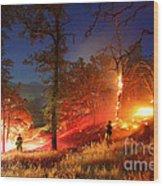 The Oaks On Fire Wood Print
