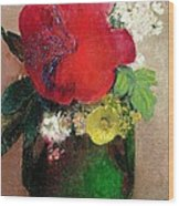 The Red Poppy Wood Print by Odilon Redon