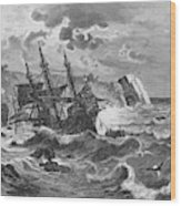 The Wreck Of The Caravel  'santa Wood Print