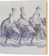 Three Kings Dancing A Jig Wood Print