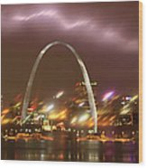 Thunderstorm Over The Arch Wood Print