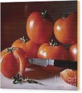 Tomatoes And A Knife Wood Print by Bernard Jaubert