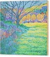 Tree in Field Painting Wood Print
