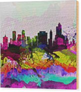 Tulsa Watercolor Skyline Wood Print
