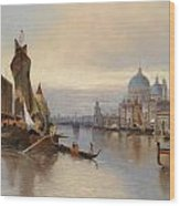 Venetian Scene With A View Of Santa Maria Della Salute Wood Print