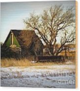 Vintage Green House Wood Print