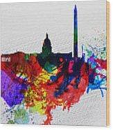 Washington Dc Watercolor Skyline 1 Wood Print by Naxart Studio