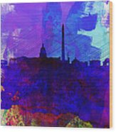 Washington Dc Watercolor Skyline 2 Wood Print