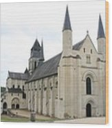 West Facade Of The Church - Fontevraud Abbey Wood Print
