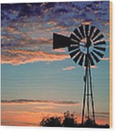 Windmill At Dawn Wood Print