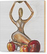 Woman In The African Style  With Red Apples Wood Print