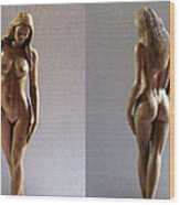 Wood Sculpture Of Naked Woman Wood Print