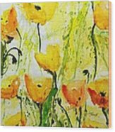 Yellow Poppy 2 - Abstract Floral Painting Wood Print