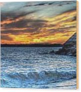 0015 Awe In One Sunset Series At Erie Basin Marina Wood Print