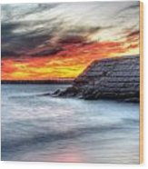 0018 Awe In One Sunset Series At Erie Basin Marina Wood Print
