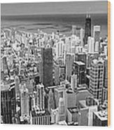 0036 Chicago Skyline Black And White Wood Print