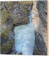 0142 Athabasca River Canyon Wood Print