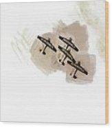 0166 - Air Show - Brown Water Wood Print